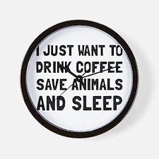 Coffee Animals Sleep Wall Clock