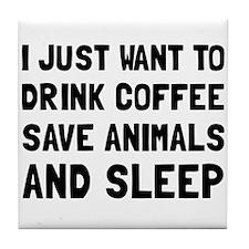 Coffee Animals Sleep Tile Coaster