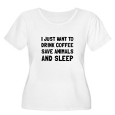 Coffee Animals Sleep Plus Size T-Shirt