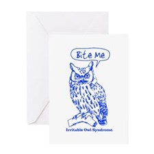 IRRITABLE OWL Greeting Cards