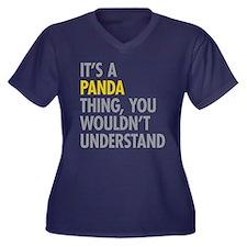 Its A Panda Women's Plus Size V-Neck Dark T-Shirt