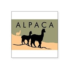 "Cute Alpaca art Square Sticker 3"" x 3"""