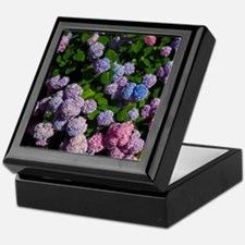purple, blue, and pink hydrangeas Keepsake Box