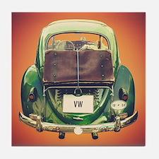 Vintage Volkswagen Beetle With Suitcase Tile Coast