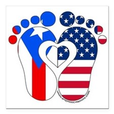 """Puerto Rican American Baby Square Car Magnet 3"""" x"""