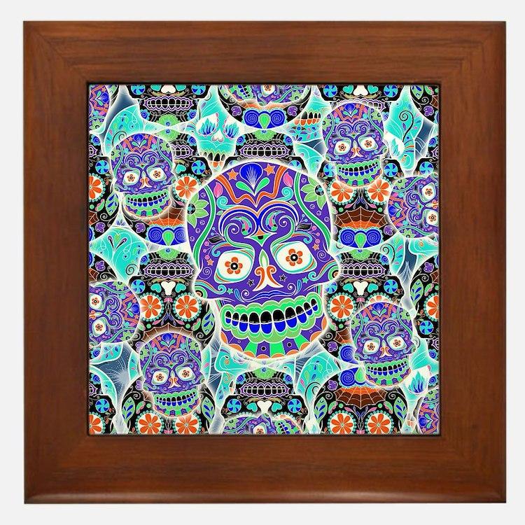 Cute Mexican sugar skulls Framed Tile
