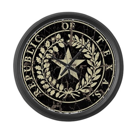 Republic Of Texas Seal Distressed Large Wall Clock By Alphax