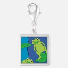 Two Frogs Pattern Silver Square Charm