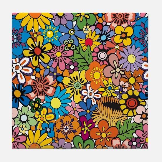 Flower Pattern Tile Coaster