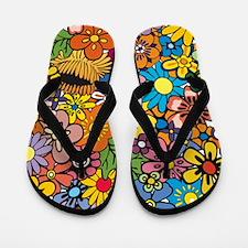 Flower Pattern Flip Flops