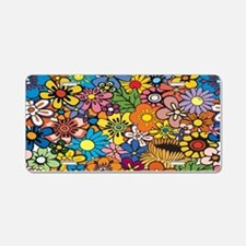 Flower Pattern Aluminum License Plate