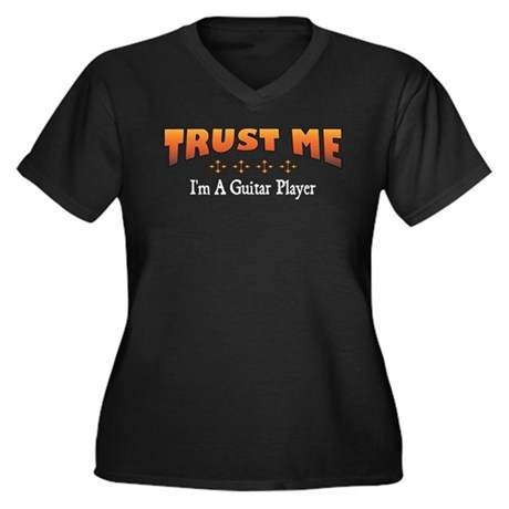 Trust Guitar Player Women's Plus Size V-Neck Dark