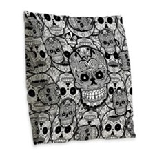Sugar Skulls Burlap Throw Pillow