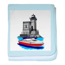 Huntington NY Lighthouse with boat baby blanket