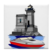 Huntington NY Lighthouse with boat Tile Coaster