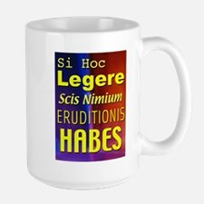 Overeducated - in latin Large Mug