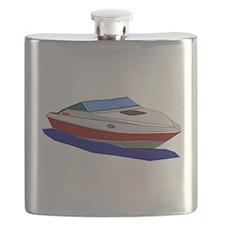 Red Cuddy Cabin Power Boat Flask