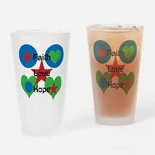 Faith, Love, Hope with Design Drinking Glass