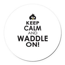 Penguin Keep Calm and Waddle On Round Car Magnet