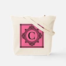 Letter C Monogrammed Pink And Black Tote Bag