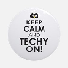 Penguin Keep Calm and Techy ON Ornament (Round)