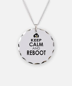 Penguin Keep Calm and Reboot Necklace