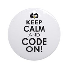 Penguin Keep Calm and Code On Ornament (Round)