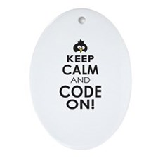 Penguin Keep Calm and Code On Ornament (Oval)