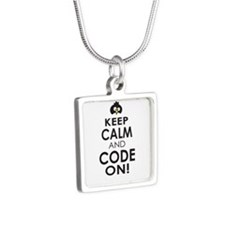 Penguin Keep Calm and Code On Necklaces