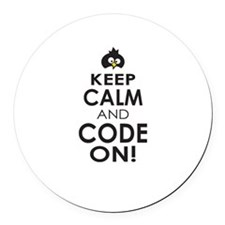 Penguin Keep Calm and Code On Round Car Magnet