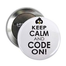 """Penguin Keep Calm and Code On 2.25"""" Button (10 pac"""