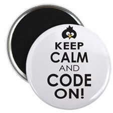 Penguin Keep Calm and Code On Magnets