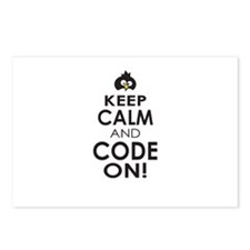 Penguin Keep Calm and Code On Postcards (Package o