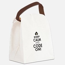 Penguin Keep Calm and Code On Canvas Lunch Bag