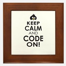 Penguin Keep Calm and Code On Framed Tile