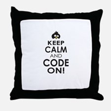 Penguin Keep Calm and Code On Throw Pillow