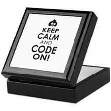 Penguin Keep Calm and Code On Keepsake Box