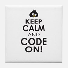 Penguin Keep Calm and Code On Tile Coaster