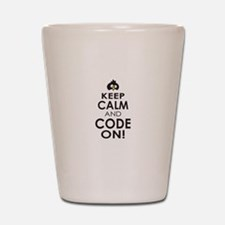 Penguin Keep Calm and Code On Shot Glass