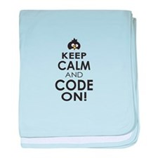 Penguin Keep Calm and Code On baby blanket