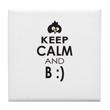Penguin Keep Calm and Be Happy Tile Coaster