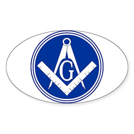 Masonic Square and Compass Sticker (Oval)