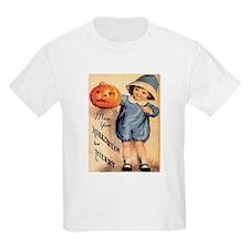 Halloween Greetings Boy with Pumpkin T-Shirt