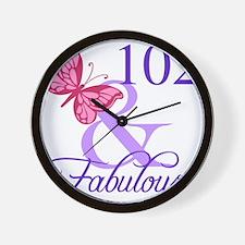 Fabulous 102th Birthday Wall Clock