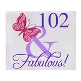 102 birthday Throw Blankets