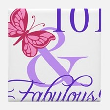Fabulous 101st Birthday Tile Coaster