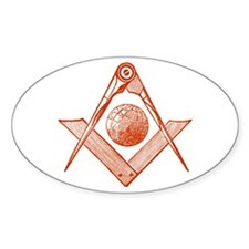 Square and Compass with Globe Oval Decal