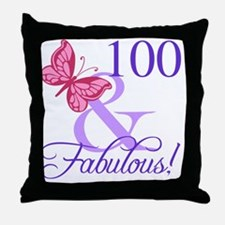 Fabulous 100th Birthday Throw Pillow