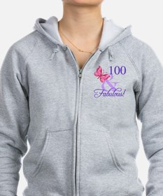 Fabulous 100th Birthday Zipped Hoody