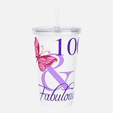 Fabulous 100th Birthda Acrylic Double-wall Tumbler